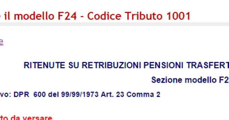 codice tributo 1001