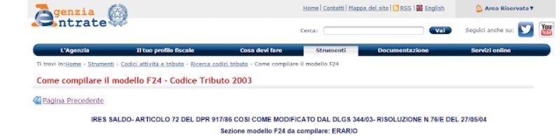 codice tributo 2003